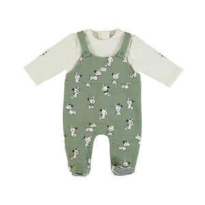 baby boy dungaree romper in puppy printted jersey. Mayoral baby boy dungaree romper.  Baby boy onesie