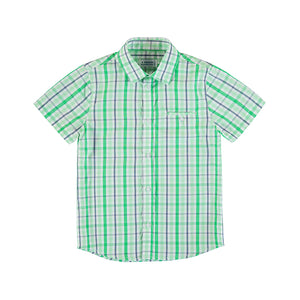 Boys Checked Shirt in Tea Green, by Mayoral