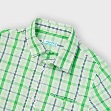 Load image into Gallery viewer, Boys green and white checked shirt. Mayoral boys shirt  3123. Boys green plaid shirt
