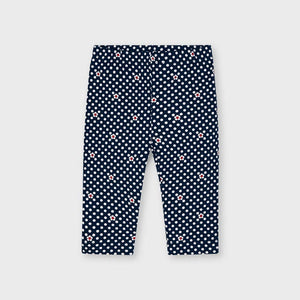 Girl's Polka Dot Leggings in Navy by Mayoral.