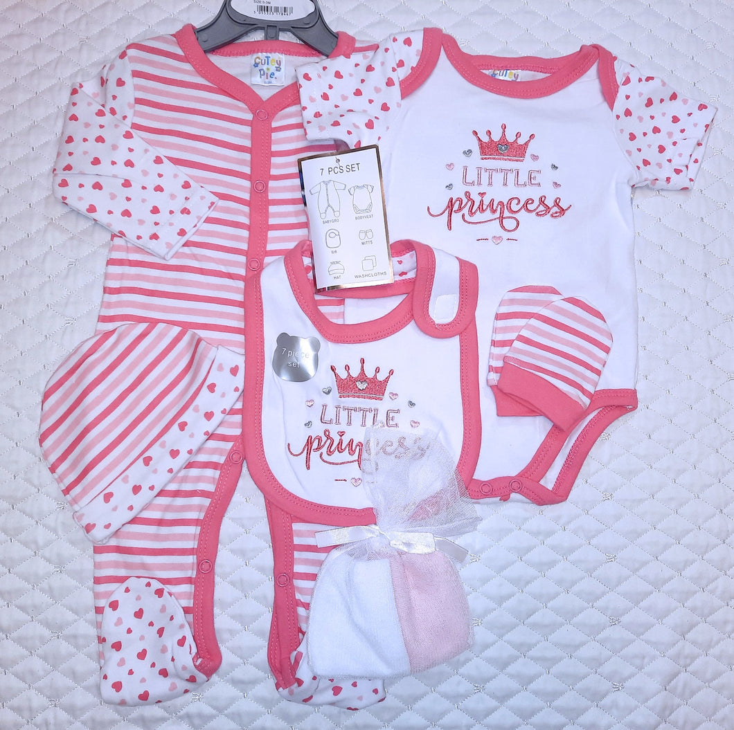 Baby Girl's 7 piece Baby-gro set