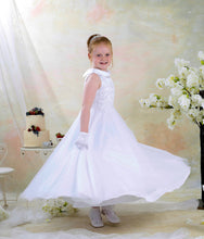 Load image into Gallery viewer, Communion Dress Red Rose by Celebrations. White communion dress with collar,