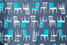 Load image into Gallery viewer, Perfectly Perched Chairs in Steel, Laurie Wisbrun, Robert Kaufman Fabrics, 100% Cotton Fabric, AWN-12851-185 STEEL