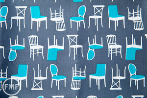 Perfectly Perched Chairs in Steel, Laurie Wisbrun, Robert Kaufman Fabrics, 100% Cotton Fabric, AWN-12851-185 STEEL