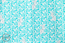 Load image into Gallery viewer, Perfectly Perched Swirl in Aqua, Laurie Wisbrun, Robert Kaufman Fabrics, 100% Cotton Fabric, AWN-12850-70 AQUA