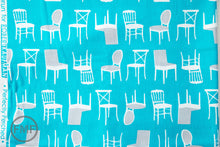 Load image into Gallery viewer, Perfectly Perched Chairs in Turquoise, Laurie Wisbrun, Robert Kaufman Fabrics, 100% Cotton Fabric, AWN-12851-81 TURQUOISE