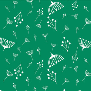 Charley Harper Holidays Twigs in Green 100% GOTS-Certified Organic Cotton Poplin, Birch Fabrics, CH-87-GREEN