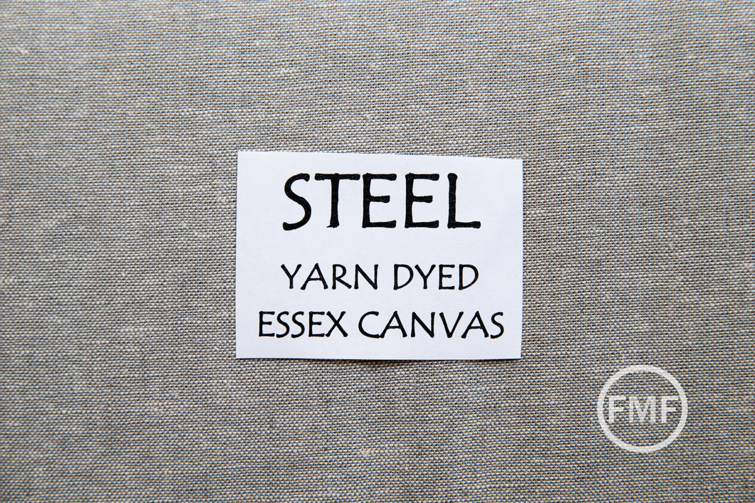 Steel Yarn Dyed Essex Canvas, Linen and Cotton Blend Fabric from Robert Kaufman, E120-91 STEEL