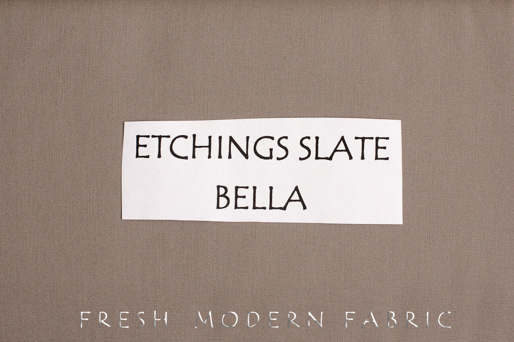 Etchings Slate Bella Cotton Solid Fabric from Moda, 9900 170