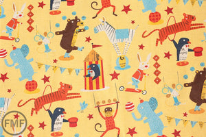 Big Top in Yellow, Circus by Nancy Wolff for Kokka Fabrics, Cotton/Linen Blend Fabric