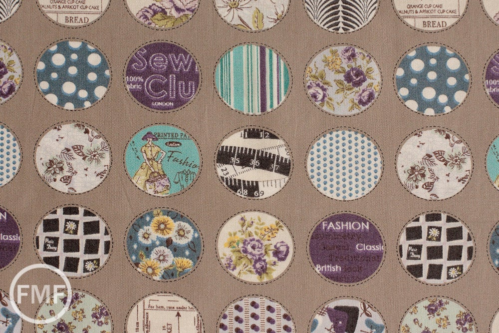 Suzuko Koseki Small Patchwork Circles in Putty, Yuwa Fabric, SZ816975C, 100% Cotton Japanese Fabric