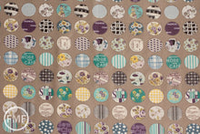 Load image into Gallery viewer, Suzuko Koseki Small Patchwork Circles in Putty, Yuwa Fabric, SZ816975C, 100% Cotton Japanese Fabric