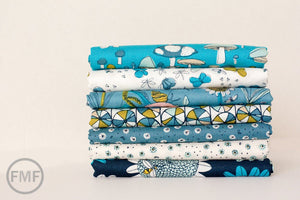 Arcadia Wheely Daisy in Blue, Sarah Watson, 100% GOTS-Certified Organic Cotton, Cloud9 Fabrics, 120902