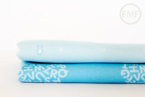 Animal ABCs Scattered Alphabet in Baby Blue, Alyssa Thomas, Penguin and Fish, 100% Organic Cotton, Clothworks, Y-1693-29