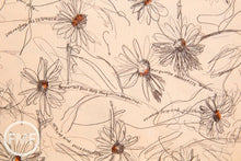 Load image into Gallery viewer, Suzuko Koseki Small Marguerite Daisy in Apricot, Yuwa Fabric, SZ826012H, 100% Cotton Japanese Fabric