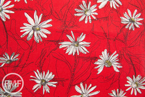 Suzuko Koseki Small Marguerite Daisy in Red, Yuwa Fabric, SZ826012A, 100% Cotton Japanese Fabric