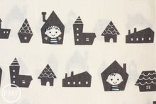 Load image into Gallery viewer, Happy Houses in Grey, Puti de Pome So Happy, Mico Design Works, Mico Ogura, Made in Japan, Cotton and Linen Blend Fabric, PTMF-077