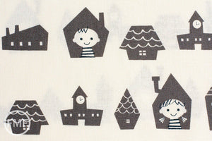 Happy Houses in Grey, Puti de Pome So Happy, Mico Design Works, Mico Ogura, Made in Japan, Cotton and Linen Blend Fabric, PTMF-077