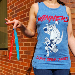 WINNERS DON'T DRINK DRUGS: HEATHER BLUE UNISEX TANK [UNISEX]