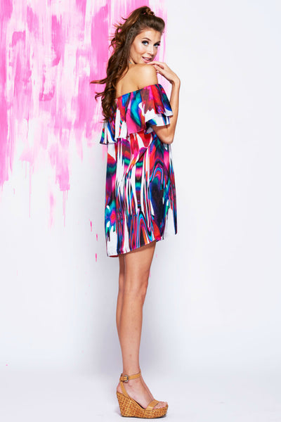 Askari Collection - Annette off the shoulder dress in Rio print