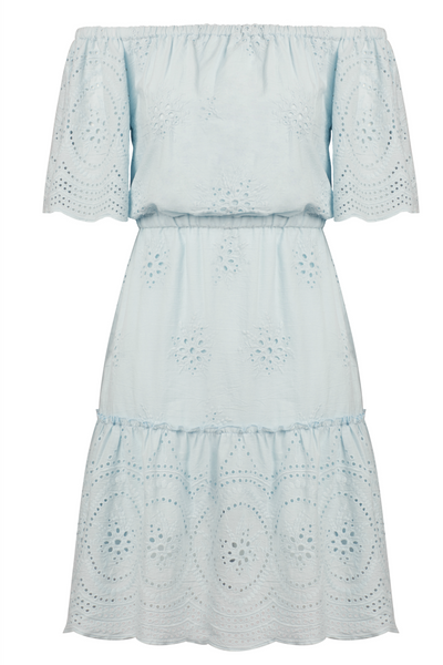 Cupcakes and Cashmere light blue, eyelet, off the shoulder dress