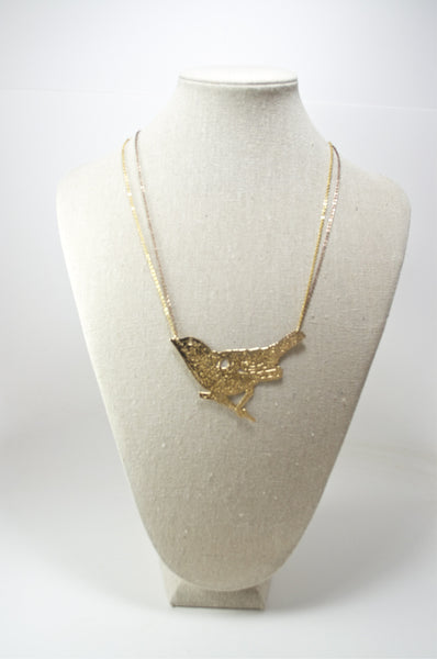 Gold Laser-Cut Bird Necklace