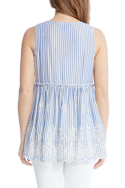 Karen Kane Lace Up Embroidered Sleeveless Top back view