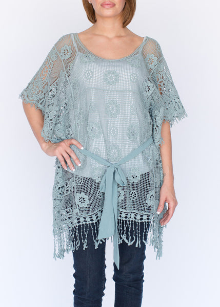 Blue Crochet Tunic
