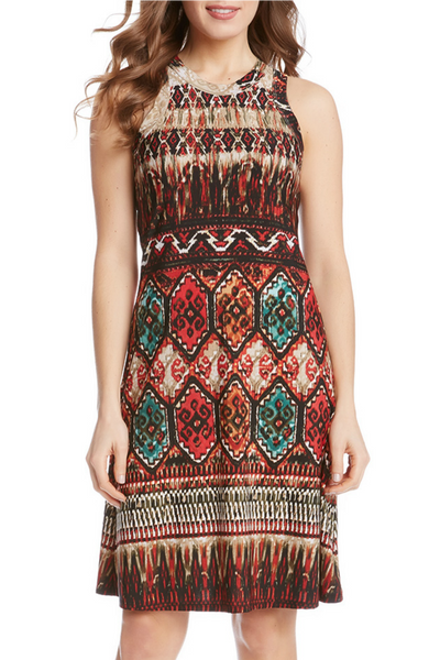 Karen Kane sleeveless border print dress