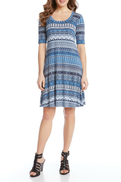 Karen Kane Blue Mosaic Dress with short sleeves and a scoop neck