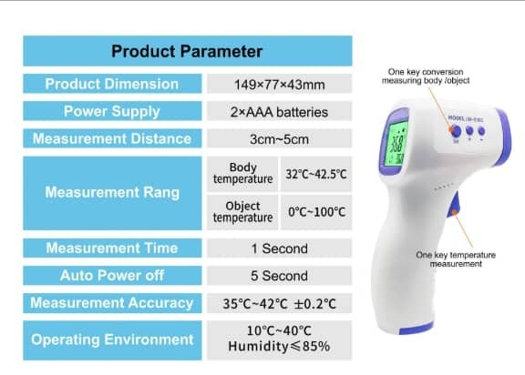 Non-contact Thermometer (forehead type)