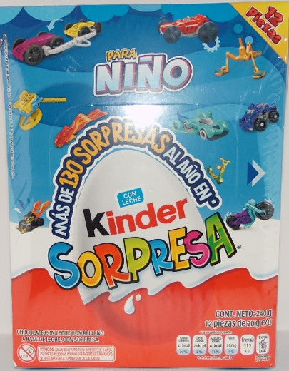 Chocolate Huevo Kinder Niño 12 pzas