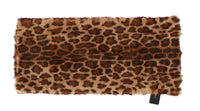 Purple Lamb Fur Leopard Print Scarf