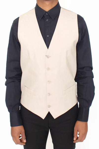 Beige Cotton Silk Blend Dress Vest Blazer