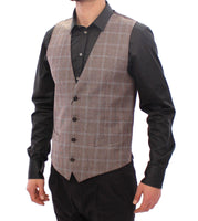Brown Wool Single Breasted Vest Gilet