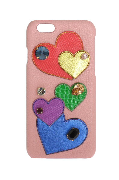 Pink Leather Heart Crystal Phone Case