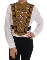 Yellow Crystal Cross Vest Jacket