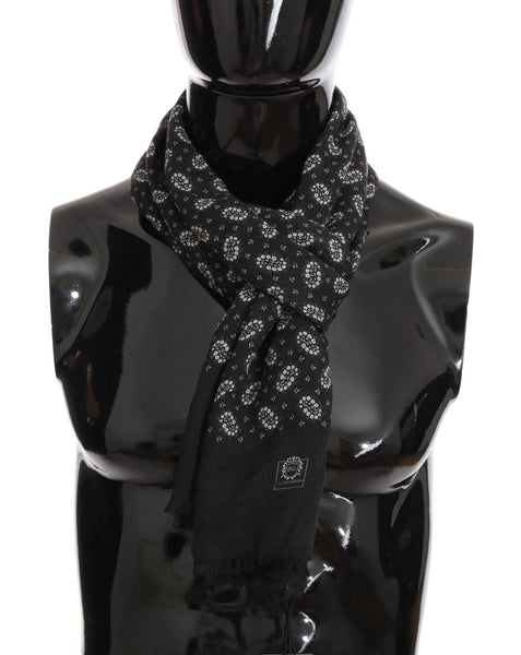 Gray Cashmere Floral Scarf