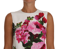 Pink White Peony Print A-Line Shift Gown Dress