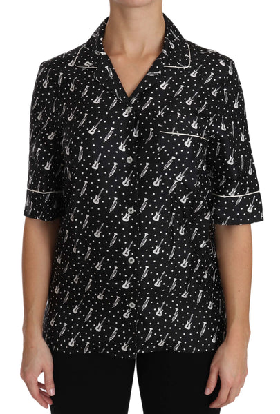 Black Guitar & Trumpet Print Silk Shirt Top