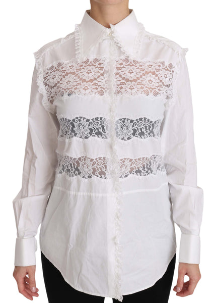 White Frill Lace Inset Poplin Tops Blouse Shirt