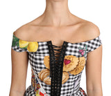 Black and White Corset Blouse Sicily Lemon Check Top