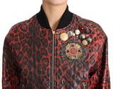 Red Leopard Button Crystal Leather Jacket