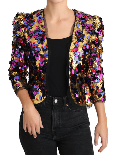 Gold Multicolor Sequined Blazer Jacket
