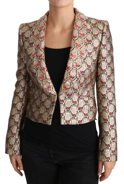 Gold Floral Sequined Blazer Coat Jacket