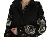 Floral Sequined Beaded Hooded Jacket Coat