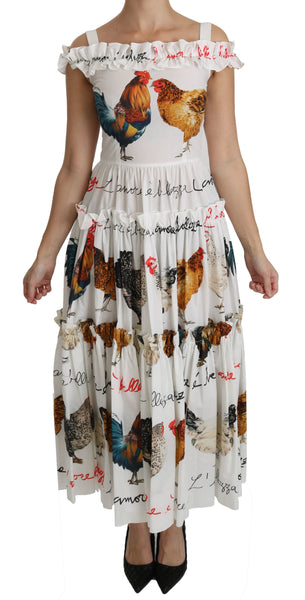 White Rooster Sheath Midi Cotton Dress