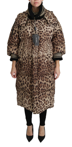 Brown Leopard Down Hooded Coat Jacket