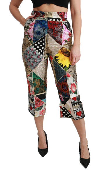 Silk Multicolor Print High Waist Cropped Pants