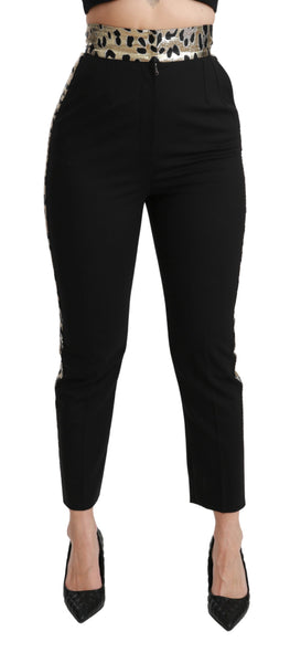 Black Cropped Skinny High Waist Wool Pants